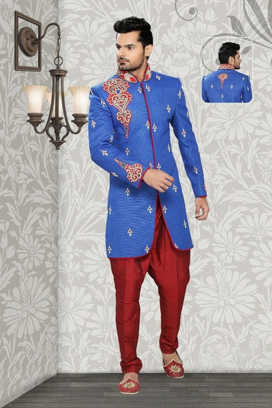Rich Look Blue Color Indo Western Sherwani