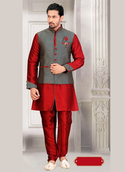 Maroon Color Charming Indo Western Sherwani