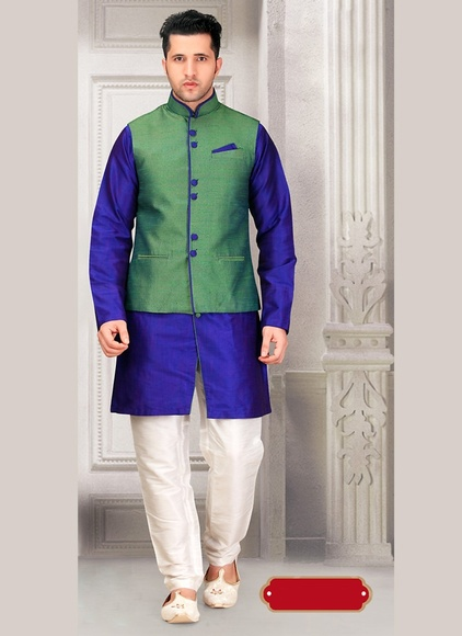 Royal Chic Blue Color Western Sherwani