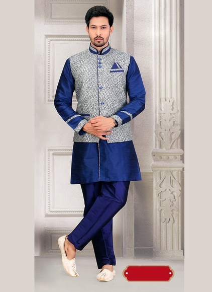 Spotlight Blue Color Indo Western Sherwani