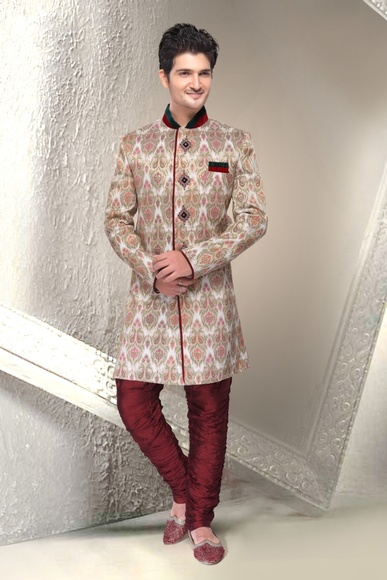 Rich Look White Color Indo Western Sherwani