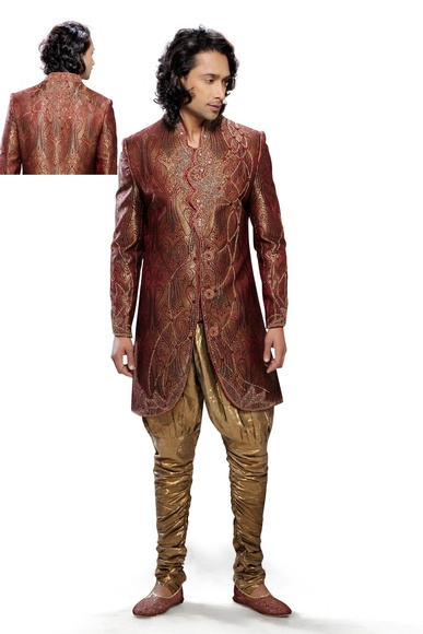 Stunning Yellow & Violet Color Indo Western Sherwani