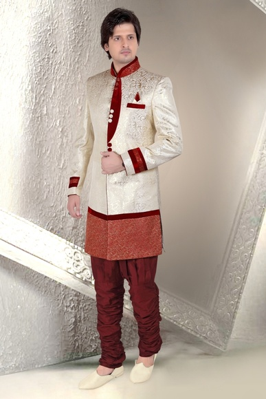 Unique Ivory Cream Color Indo Western Sherwani