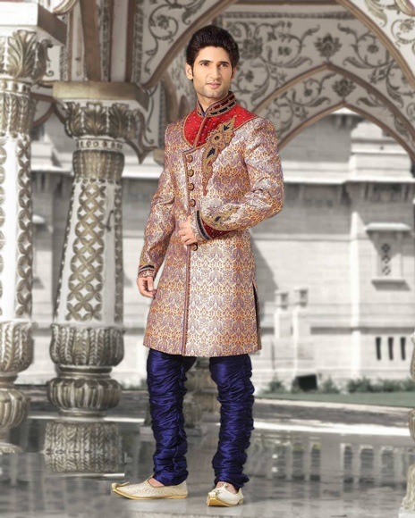 Brilliant Beige Color Indo Western Sherwani