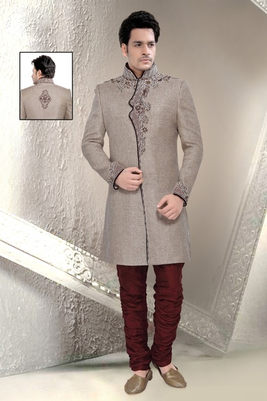Tantalizing Grey Color Indo Western Sherwani
