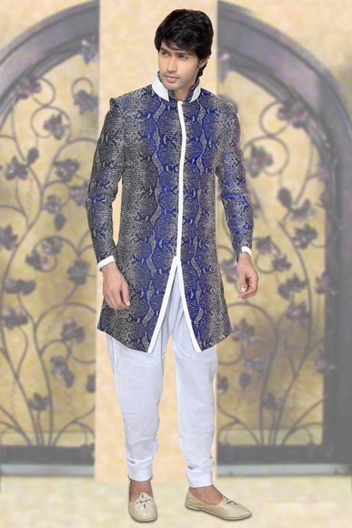 Blue Color Astounding Indo Western Sherwani