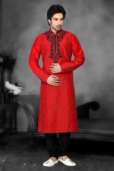 Red Color Embroidery Work Kurta Payjama