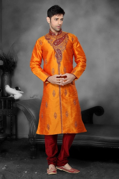 Orange Color Ethnic embroidery Kurta Payjama