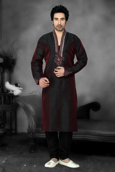 Maroon Color High Neck Kurta Payjama