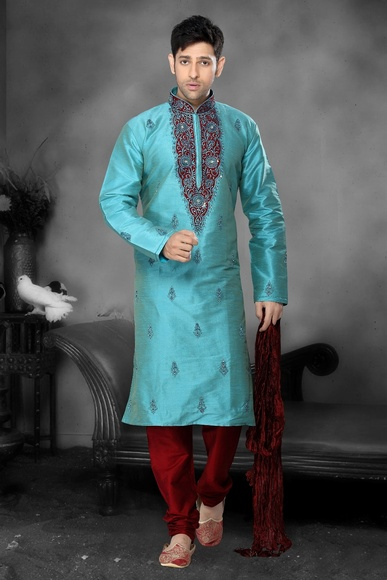 Green Color Sophisticated Kurta Payjama