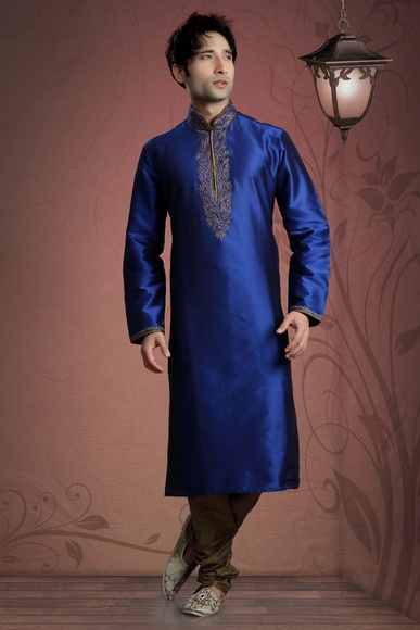 Blue Color Silk Fabric Kurta Payjama