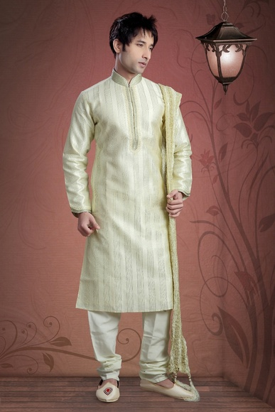 Cream Color Raw Silk Kurta Payjama