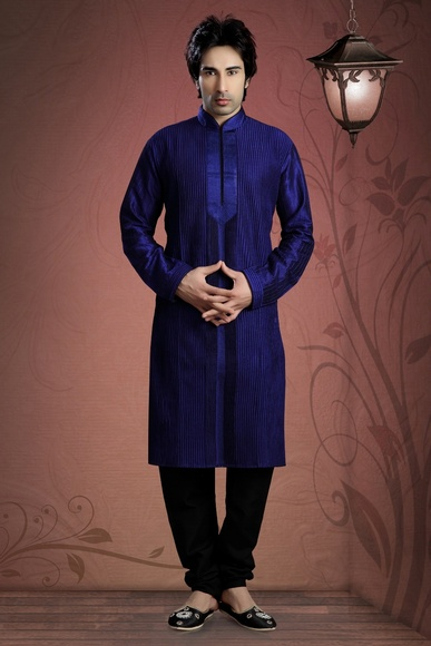 Blue Art Silk Kurta Payjama