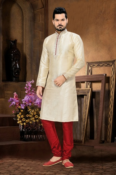 Cream Art Silk & Jacquard  Embroidery Kurta Payjama