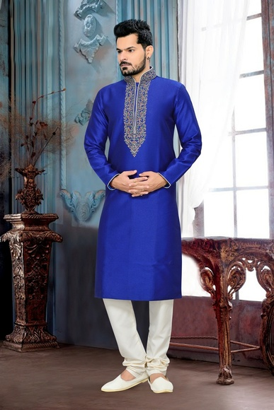 Traditional Look Blue Kurta Payjama