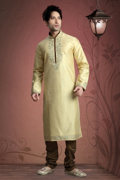 Cream Color Festive Wear Kurta Payjama