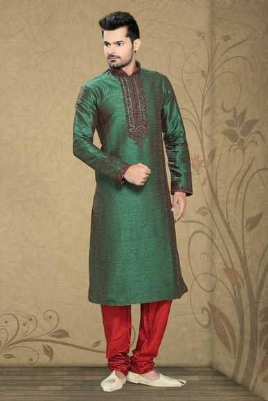 Red & Green Combination Kurta Payjama