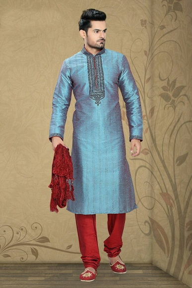 Red Blue Classical Look Kurta Payjama