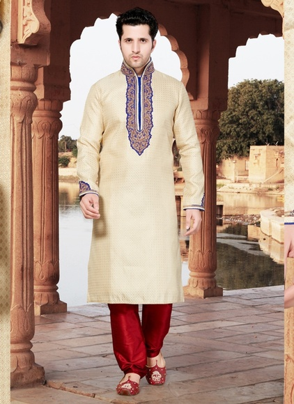 Cream Color Occasional Kurta Payjama
