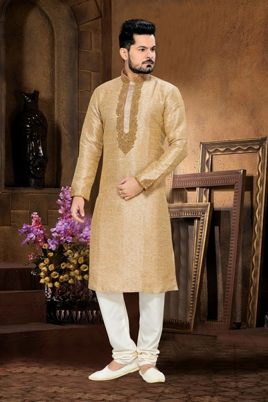 Beige Color Attractive Kurta Payjama