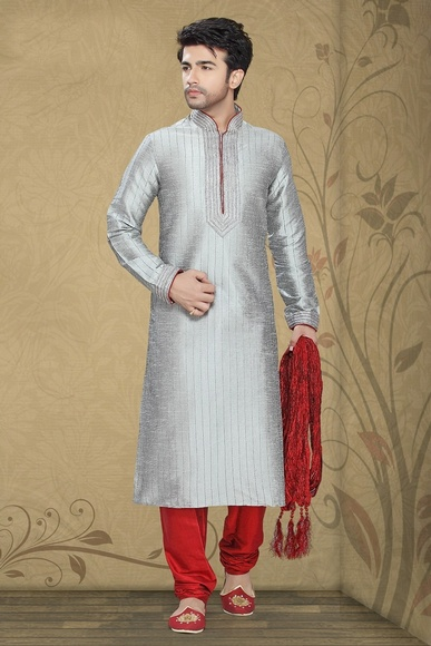 Demeneaur Grey Color Kurta Payjama