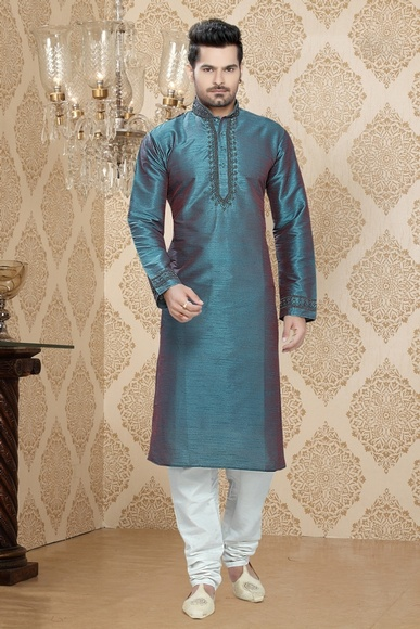 Blue Color Rich Look Festive Kurta Payjama