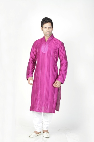 Violet Color Stich Pattern Kurta Payjama