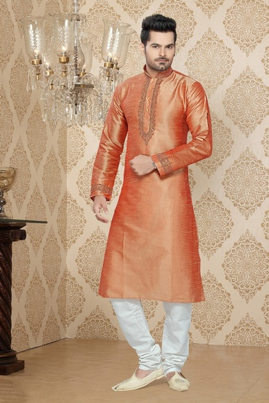 Orange Color Crumped Kurta Payjama