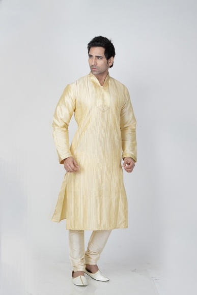 Cream Color Splendid Kurta Payjama