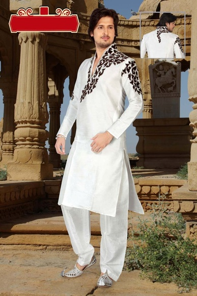 Dazzing White Ethnic Collection Kurta Payjama