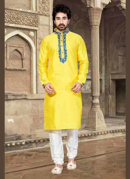 Dupion Raw Silk Yellow Kurta Payjama
