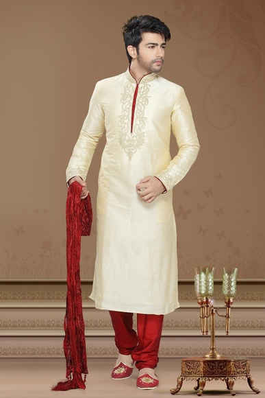 Cream Color Festive Kurta Payjama