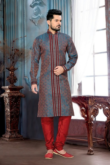 Blue Brown Color impressive Kurta Payjama