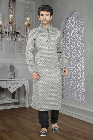 Traditional Look Silver Color Kurta Payjama