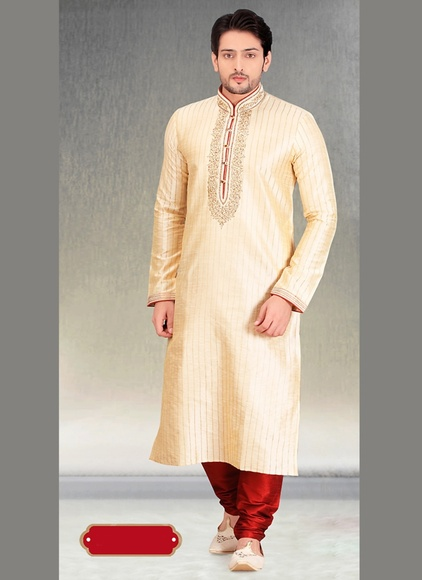 Cream Royal Wedding Kurta Payjama