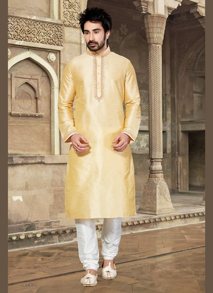 Tantalizing Cream Color Unique Kurta Payjama