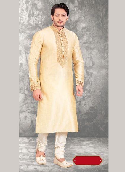 Cream Color Men Ethnic Kurta Payjama