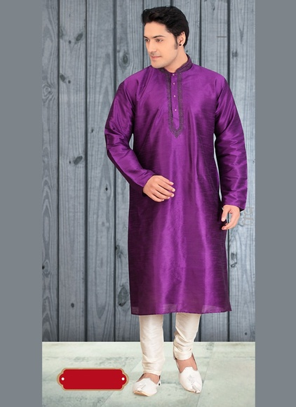 Purple Color Perfect Wedding Kurta Payjama