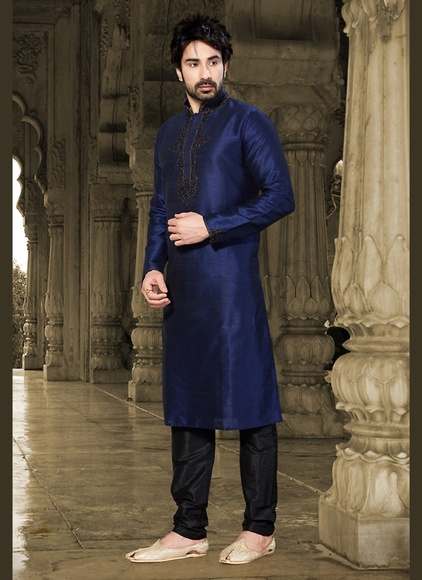 Elegant Blue Color Embroidery Kurta Payjama