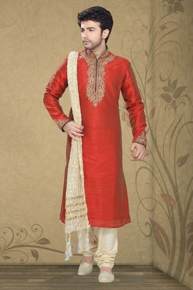 Red Color Vibrant Look Kurta Payjama