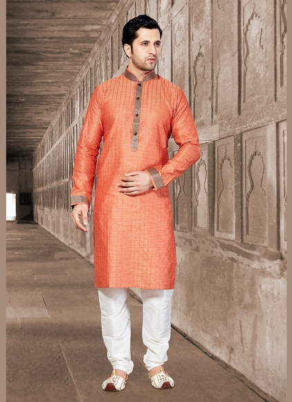 Ravishing Orange Color Ethnic Kurta Payjama