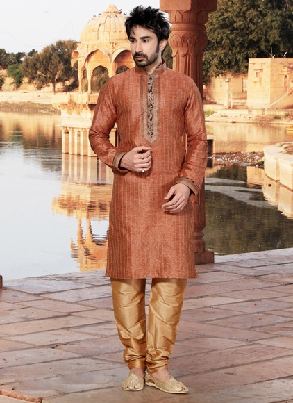 Orange Pleasant Designer Kurta Payjama