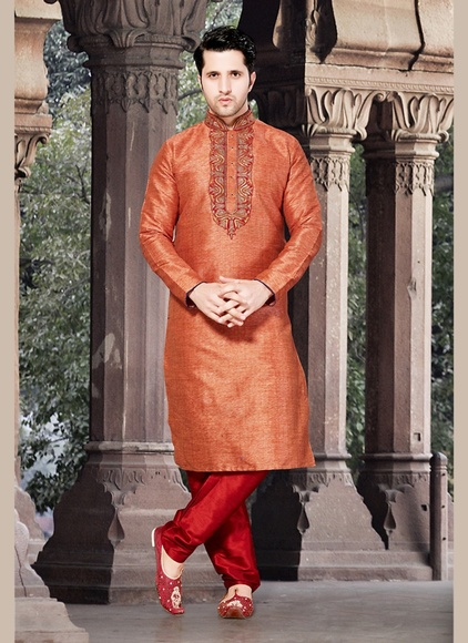 Dazzing Orange Color Kurta Payjama
