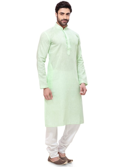 Vibrant Green Color Embroidery Kurta Payjama