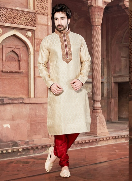 Cream Color Ornet Kurta Payjama