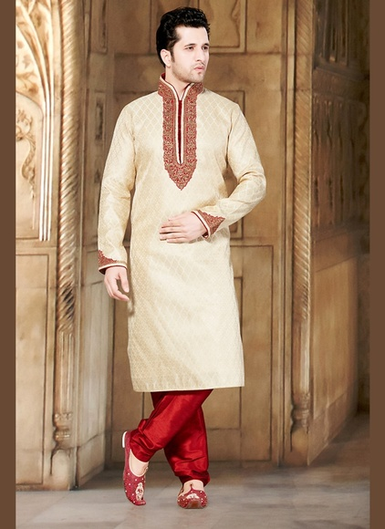 Cream Hue Stylish Look Kurta Payjama