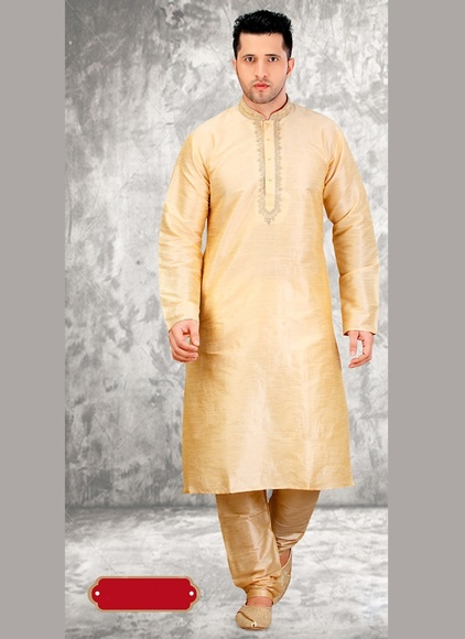 Cream Stylish Look Kurta Payjama