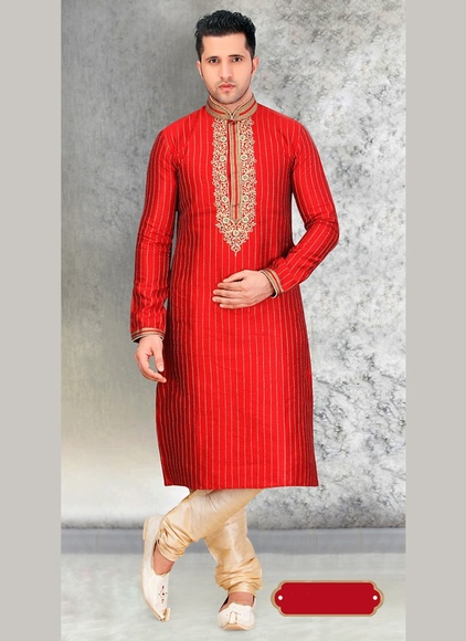 Ethnic Red Color Kurta Payjama