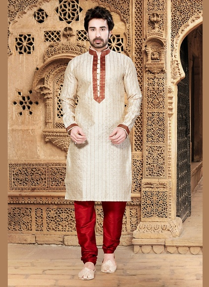 Cream Ethnic Look Kurta Payjama