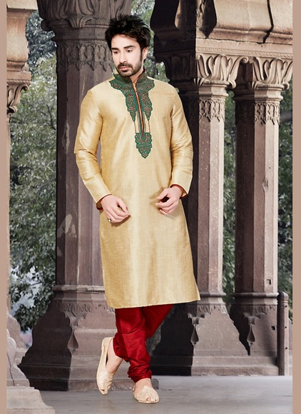 Brown Color Engrossing Kurta Payjama